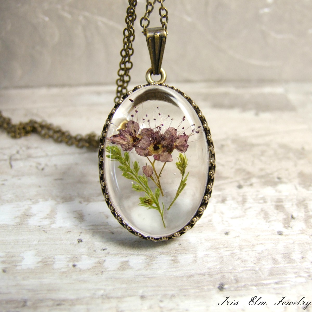 Small Mauve Real Pressed Flower Necklace Iris Elm Jewelry Unique
