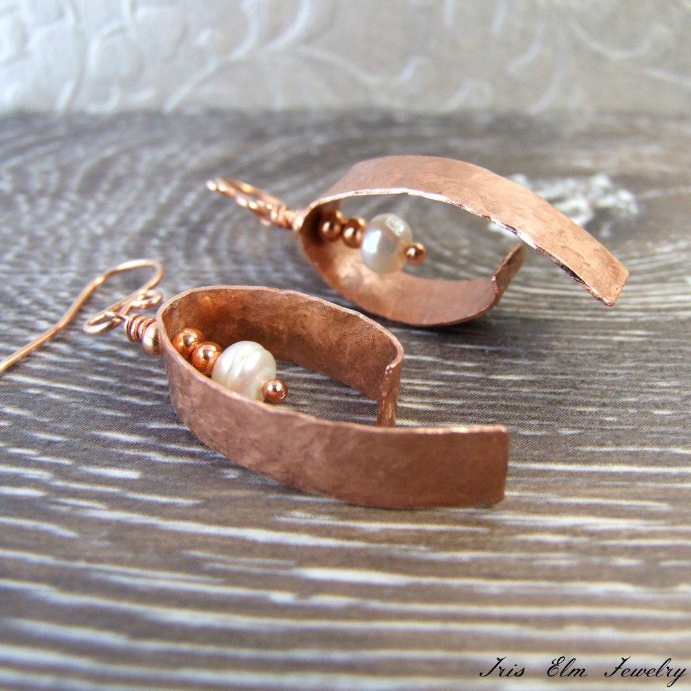 Handcrafted Copper & Pearl Earrings