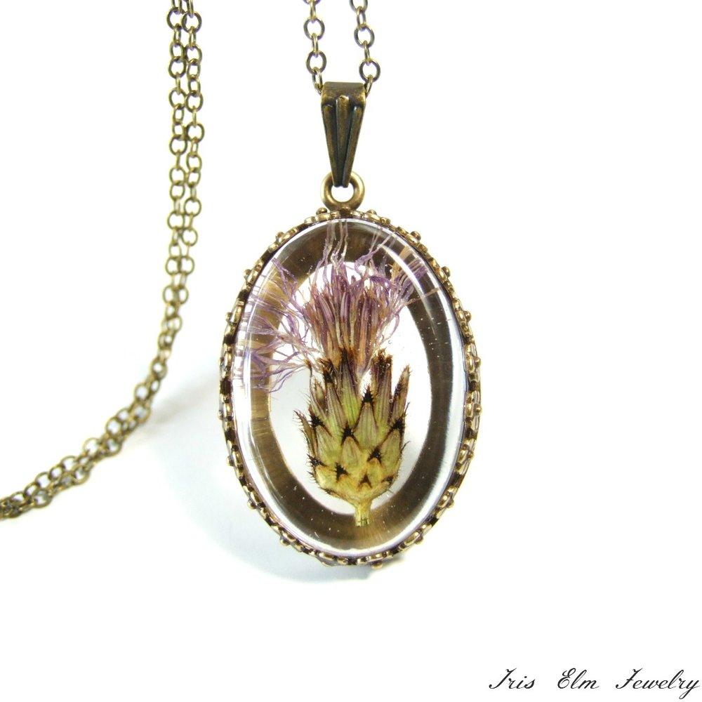 Purple Thistle Flower Pendant Necklace