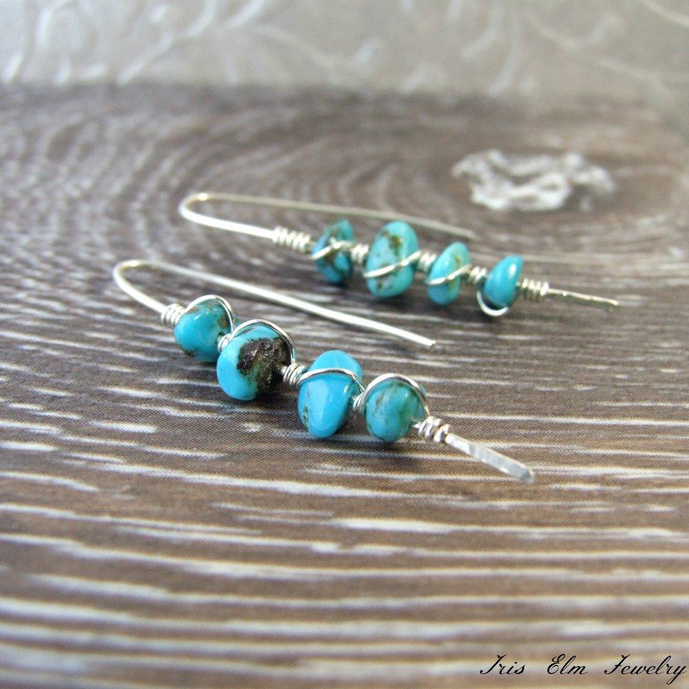 Genuine Turquoise Sterling Silver Threader Earrings