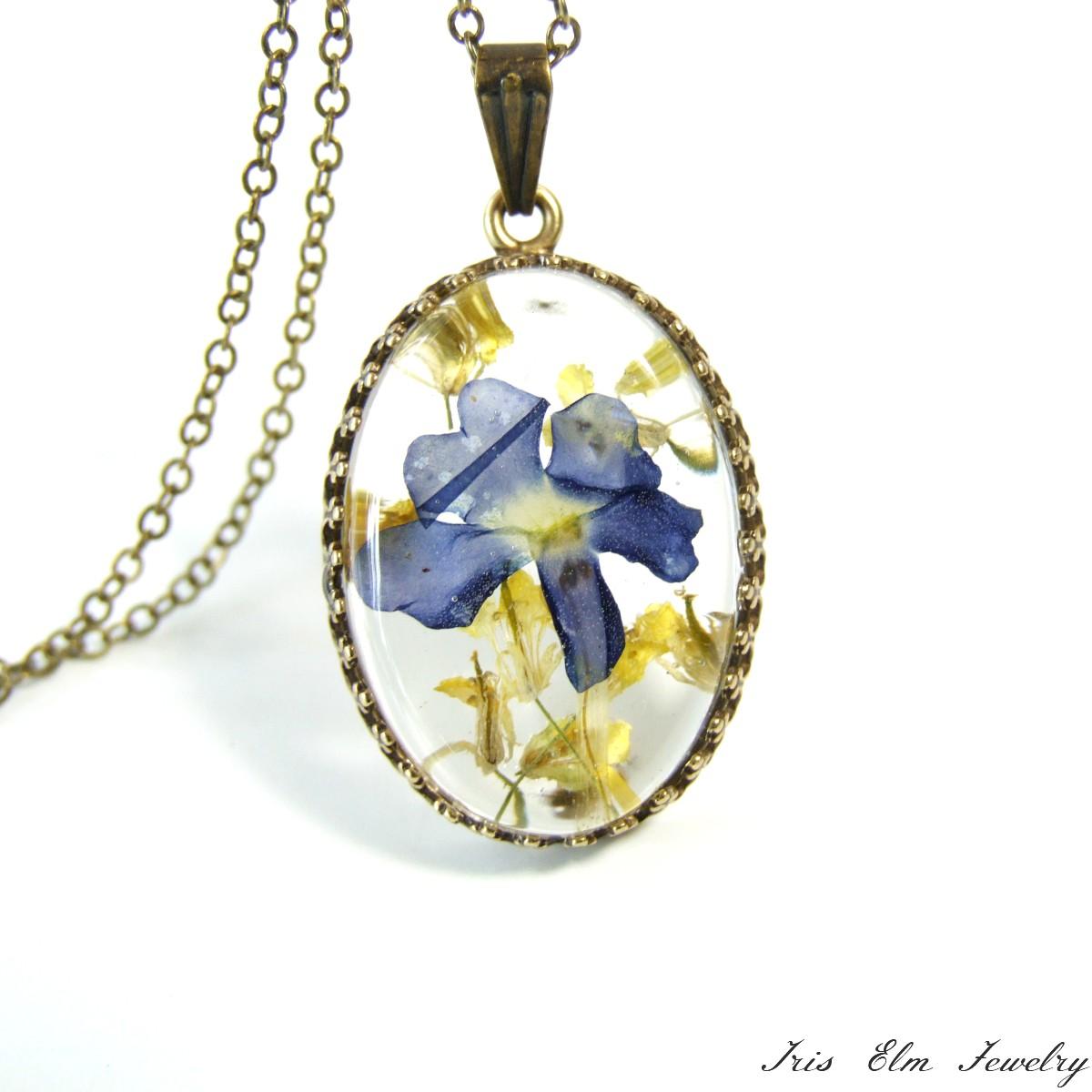 Real purple yellow pressed flower necklace iris elm jewelry real purple yellow pressed flower necklace mightylinksfo