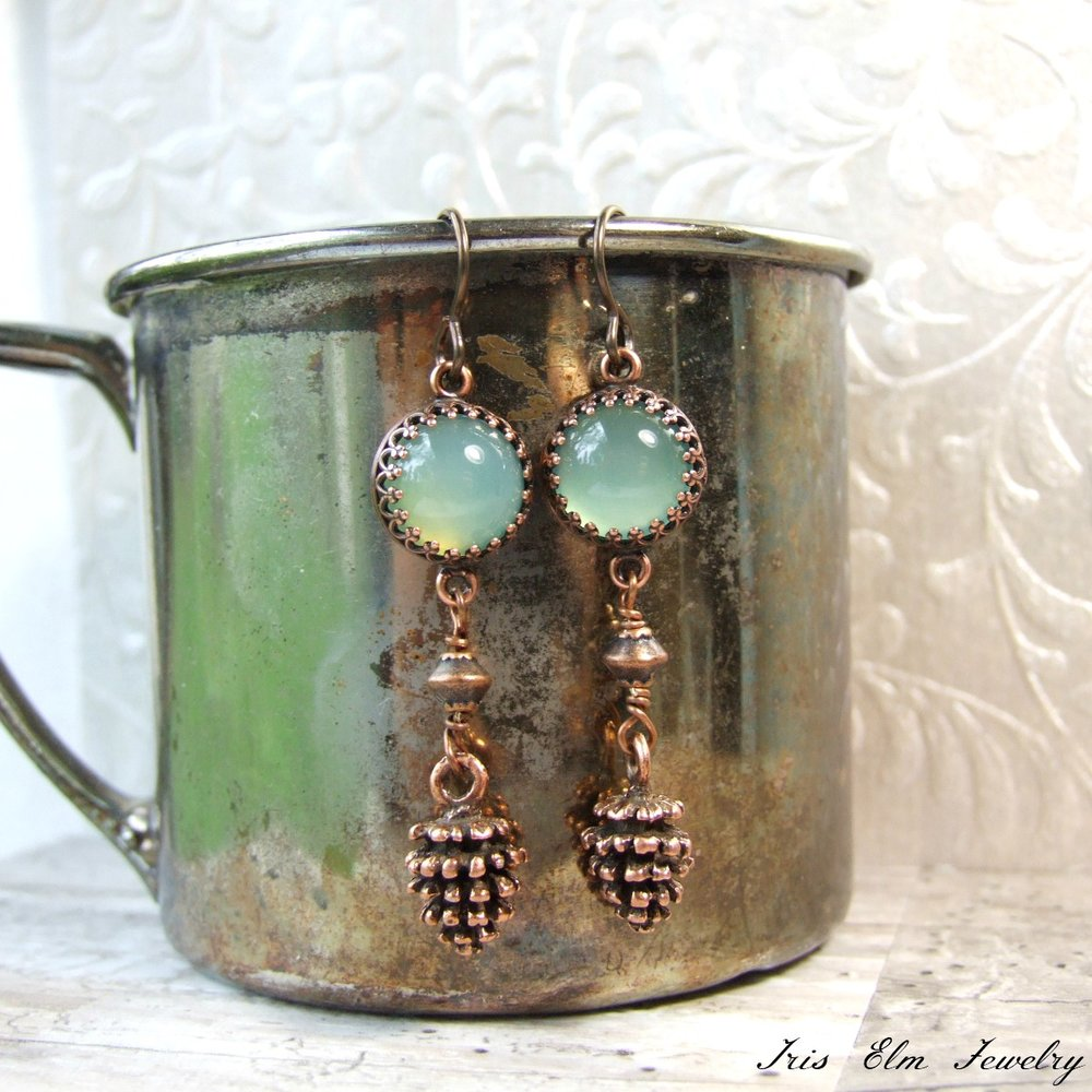 Seafoam Green Chalcedony Pinecone Dangle Earrings