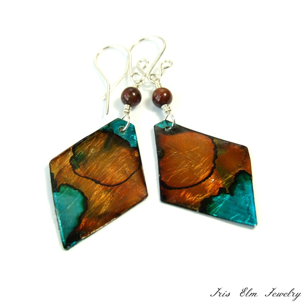 Brown Painted Metal Tiger Eye Earrings