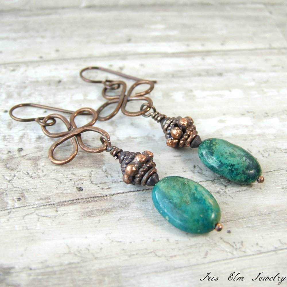 Antiqued Copper Genuine Turquoise Boho Earrings