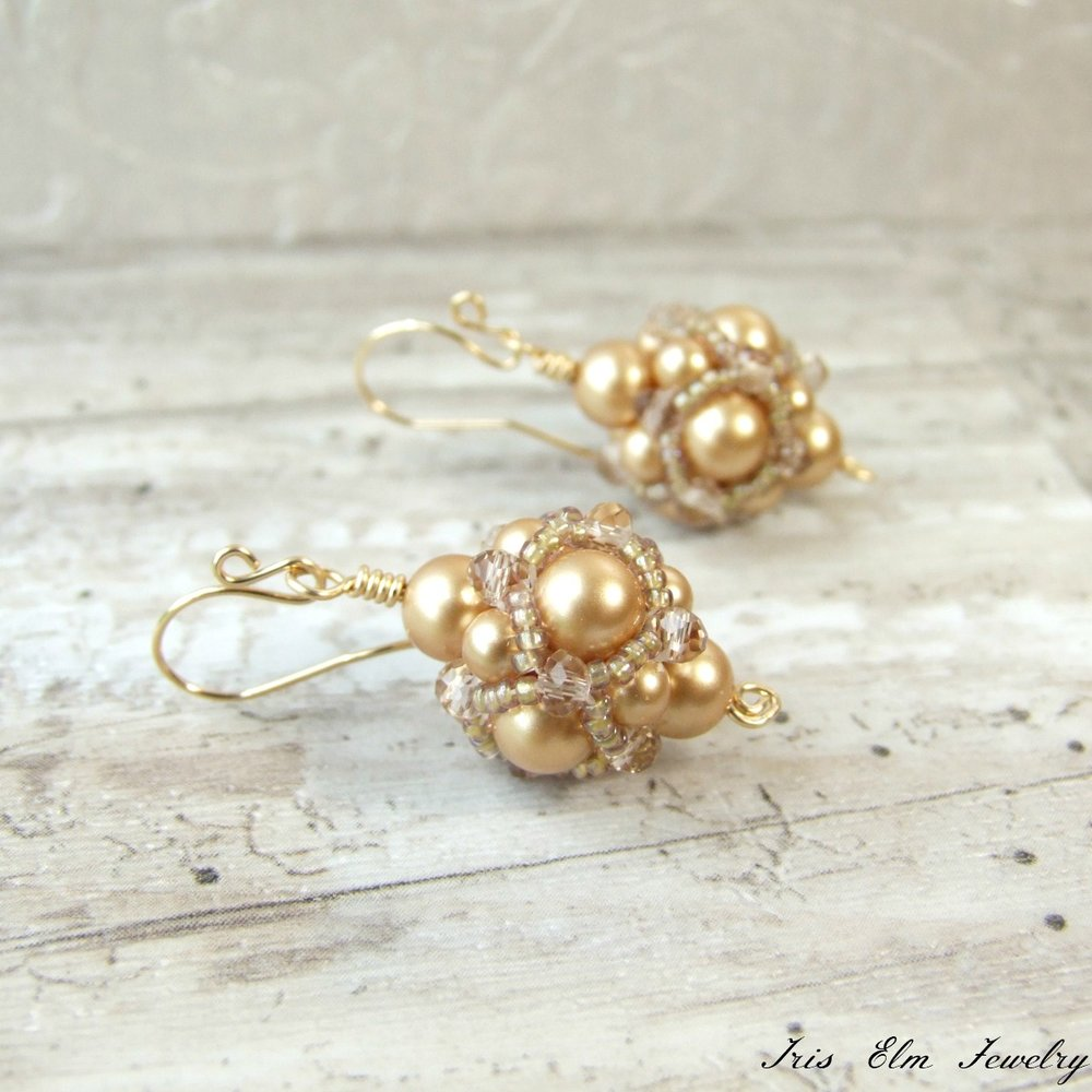 Beadwork Gold Pearl Drop Earrings