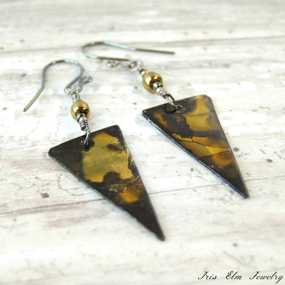 Boho Dyed Metal Triangle Dangle Earrings
