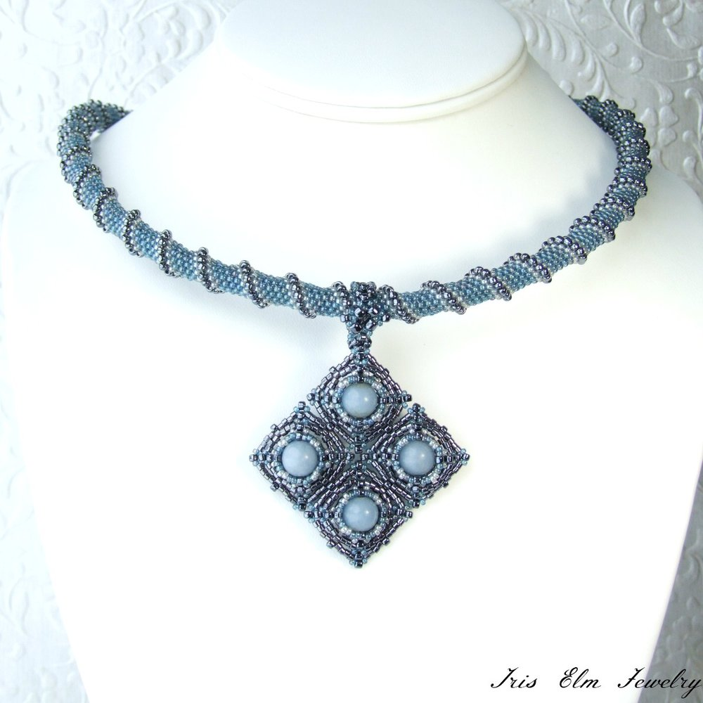 Blue Angelite Cellini Spiral Necklace