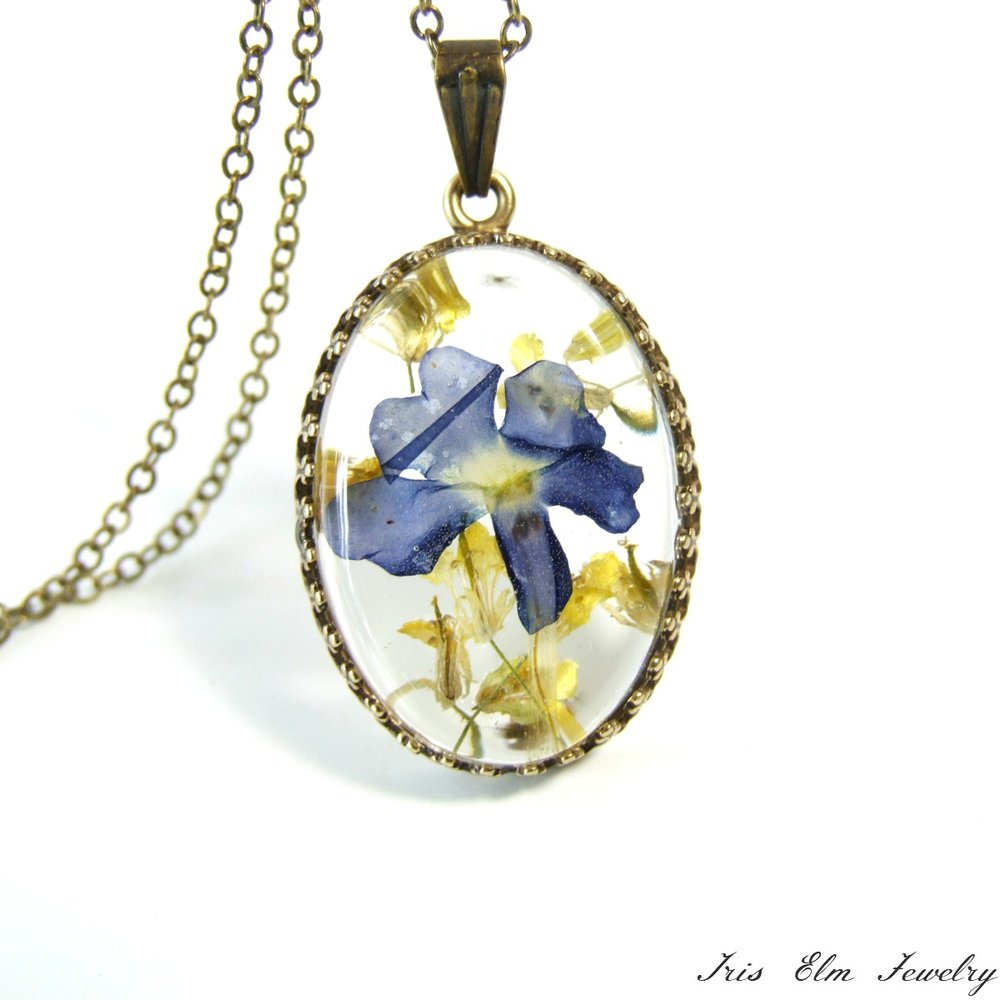 Real Purple & Yellow Pressed Flower Necklace
