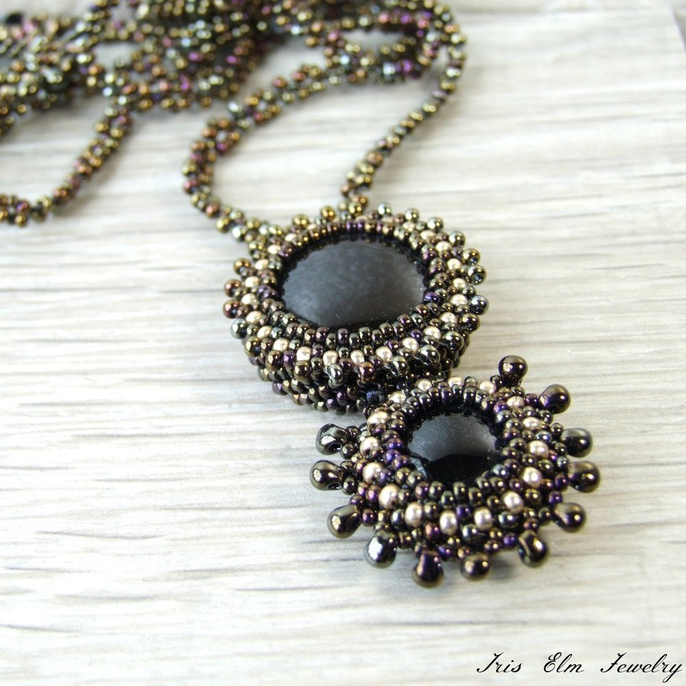 Black Agate Boho Seed Bead Necklace