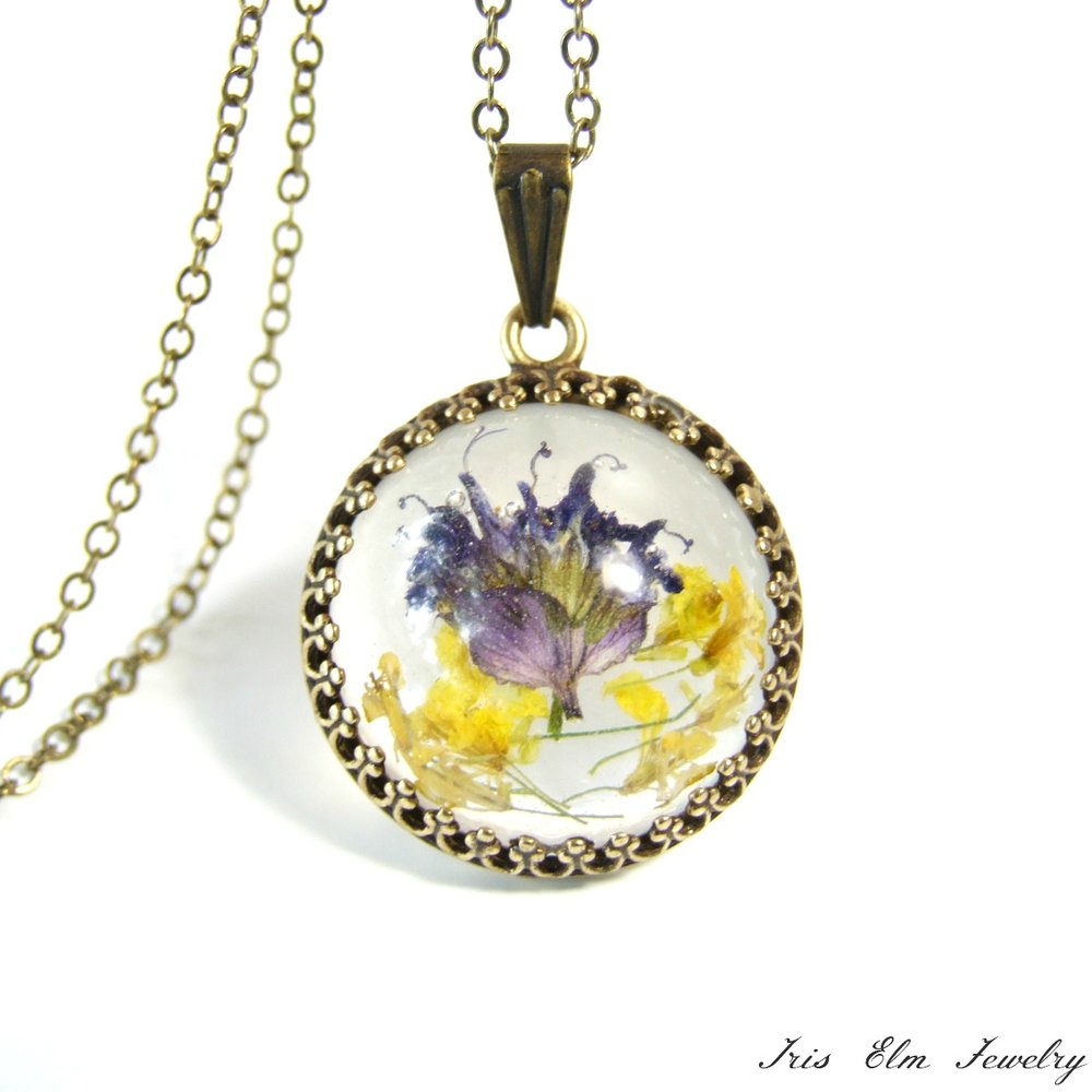 Small Pressed Wildflower Boho Necklace