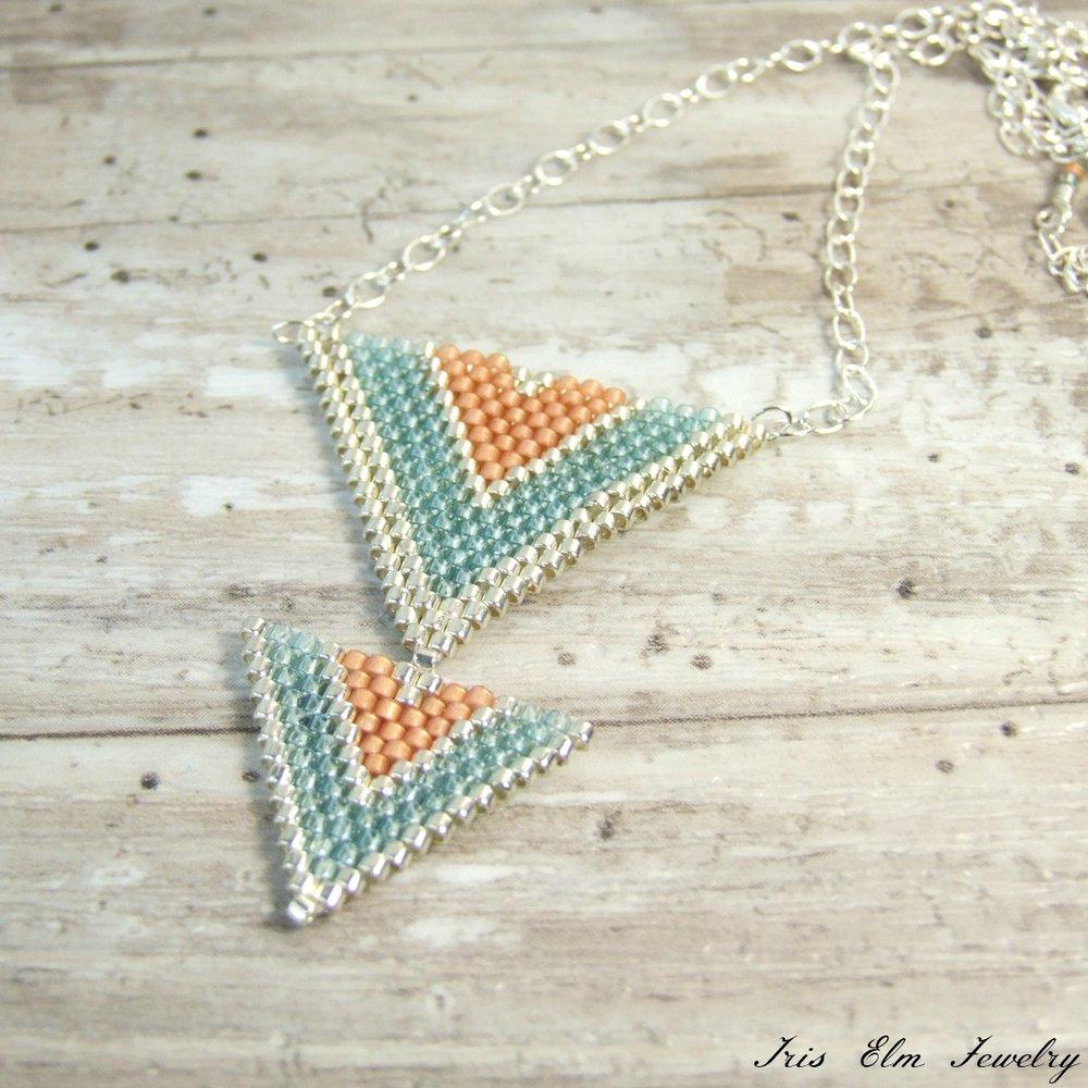 Aqua & Peach Seed Bead Triangle Pendant Necklace