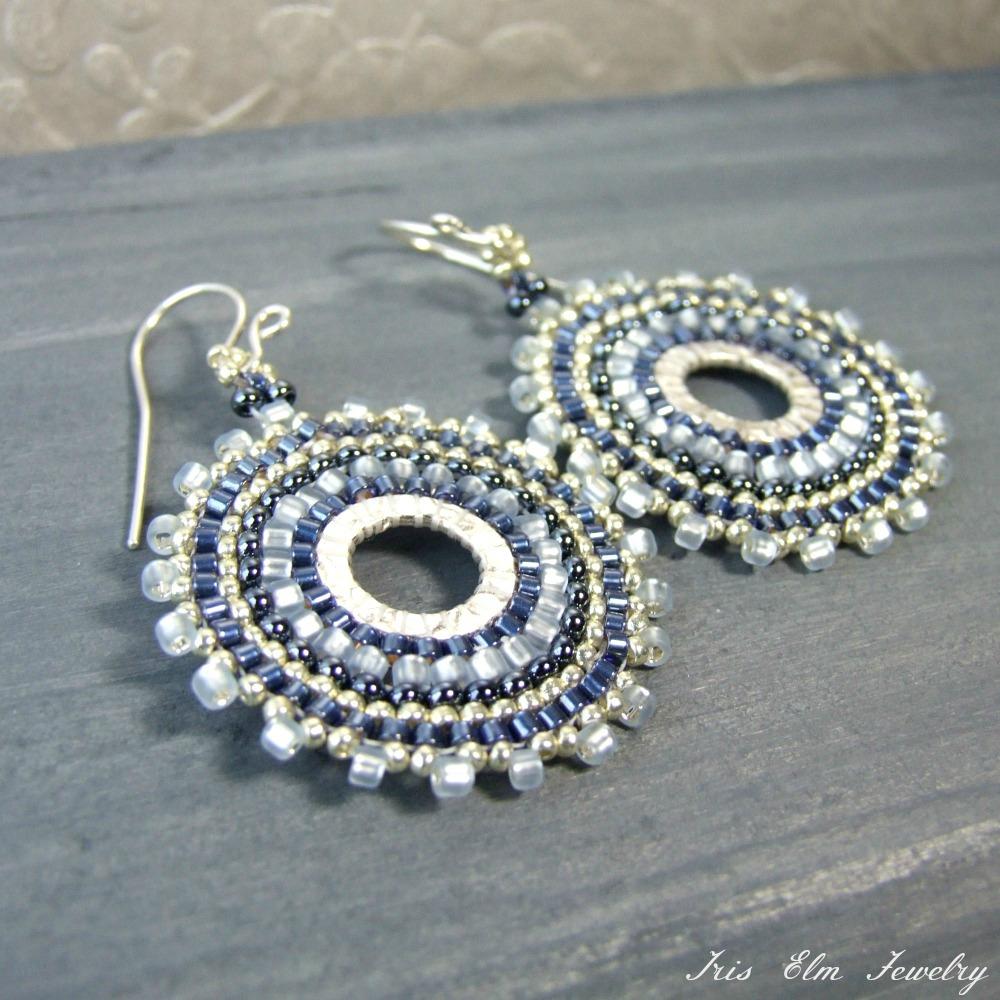 Blue Glass Seed Bead Hoop Earrings