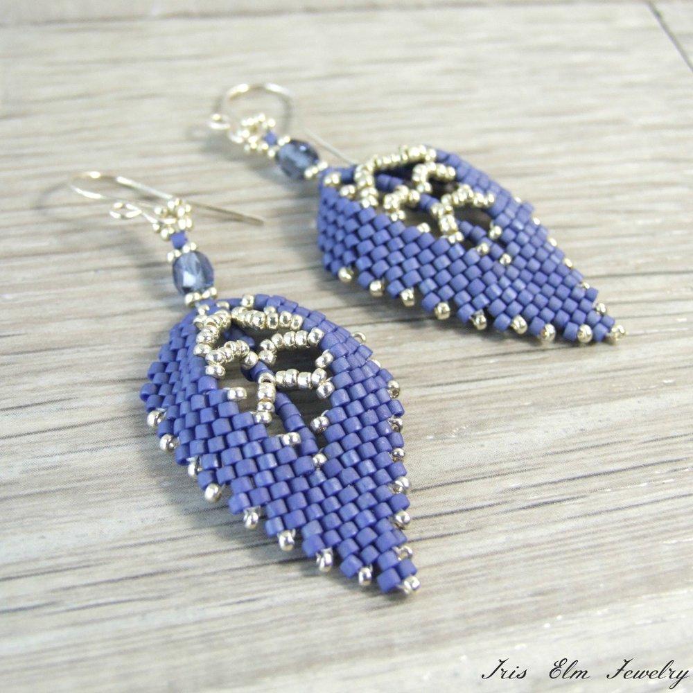 Beaded Blue Leaf Earrings
