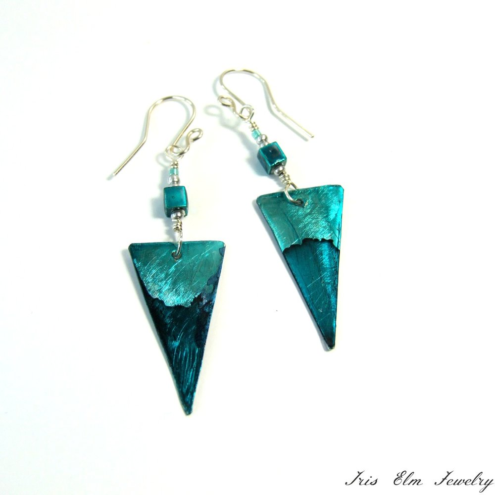 Teal Triangle Metal Dangle Earrings