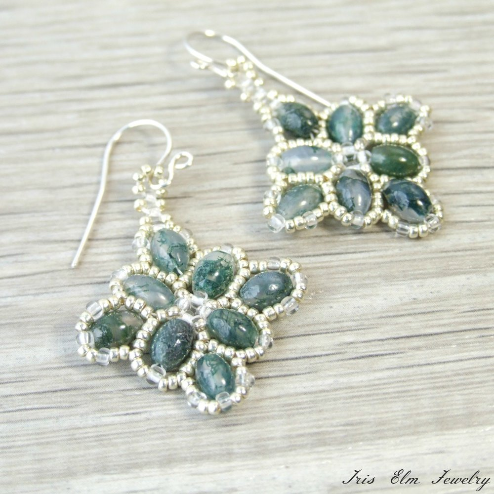 Moss Agate Beaded Quilt Earrings