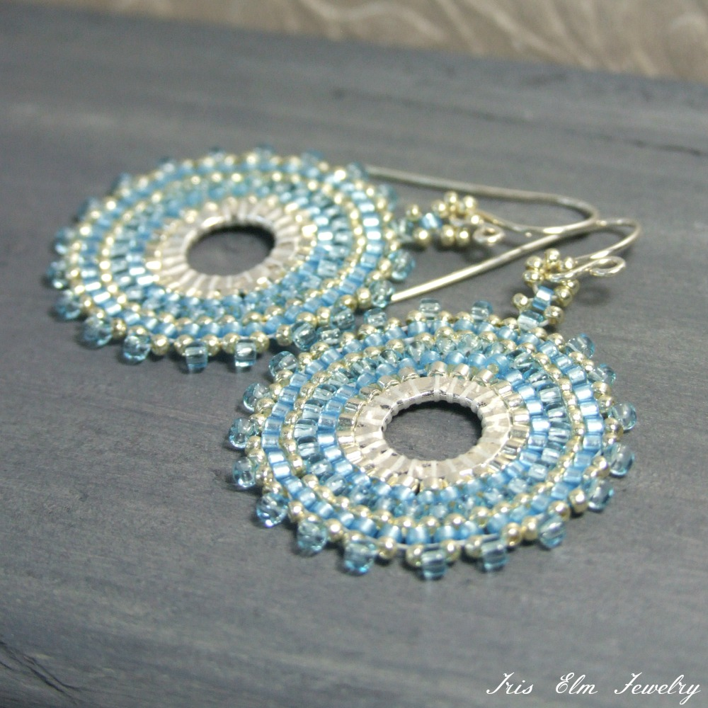 Sky Blue Seed Bead Hoop Earrings