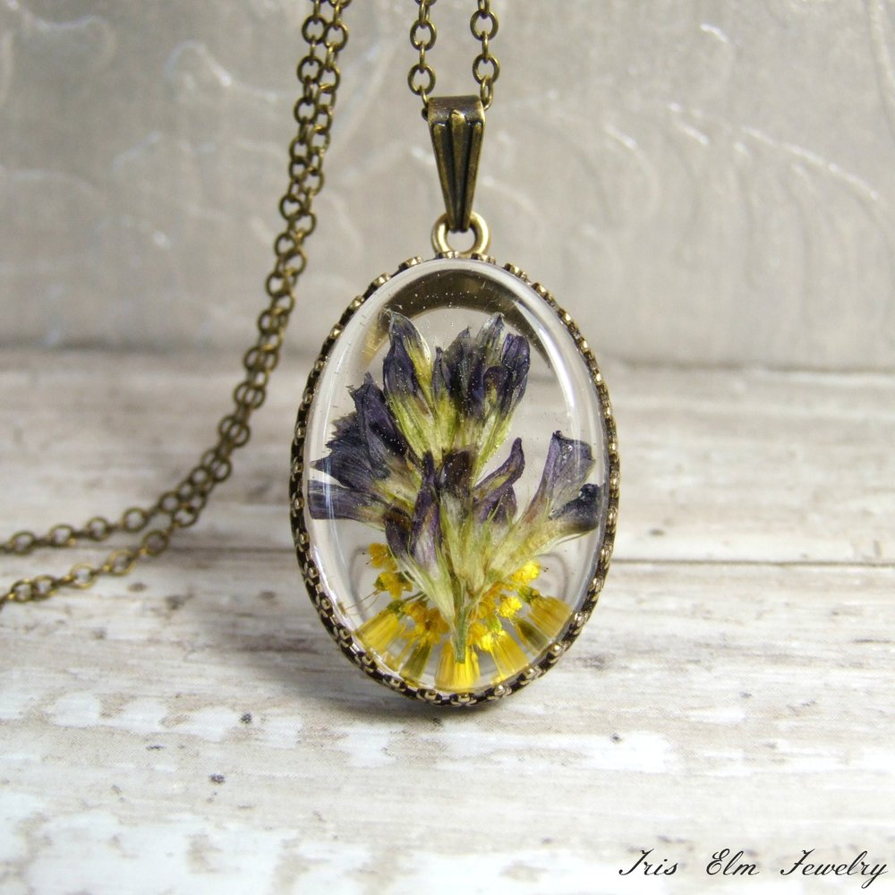 Dark Purple Wildflower & Yellow Yarrow Necklace