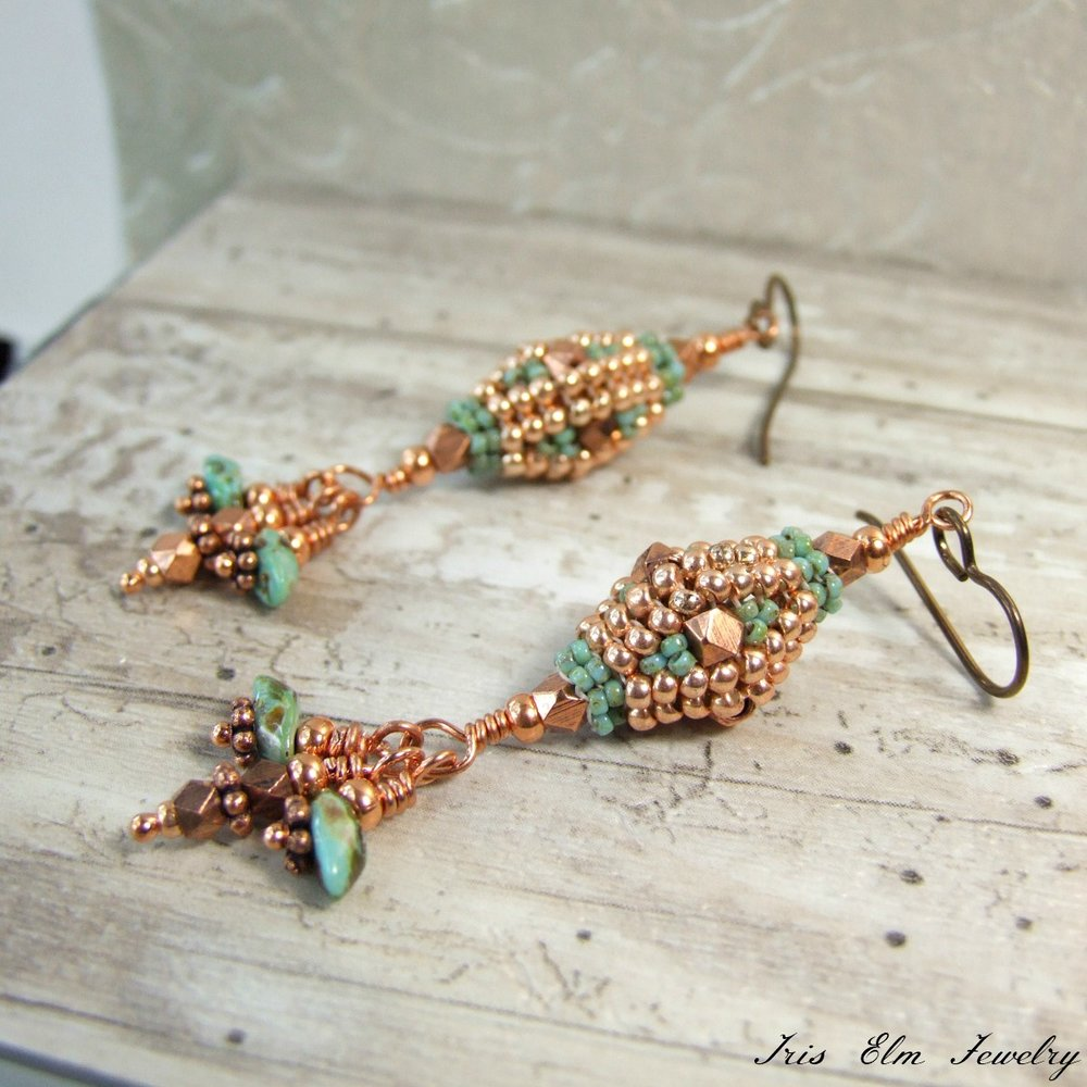Copper & Turquoise Glass Beadwork Dangle Earrings