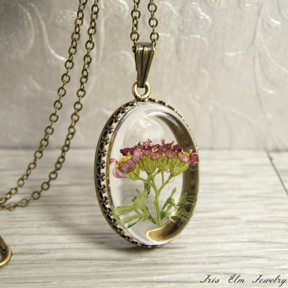 Pomegranate Yarrow Flower Necklace