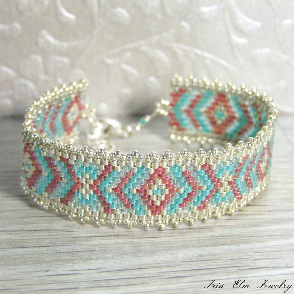 Coral & Turquoise Seed Bead Boho Bracelet