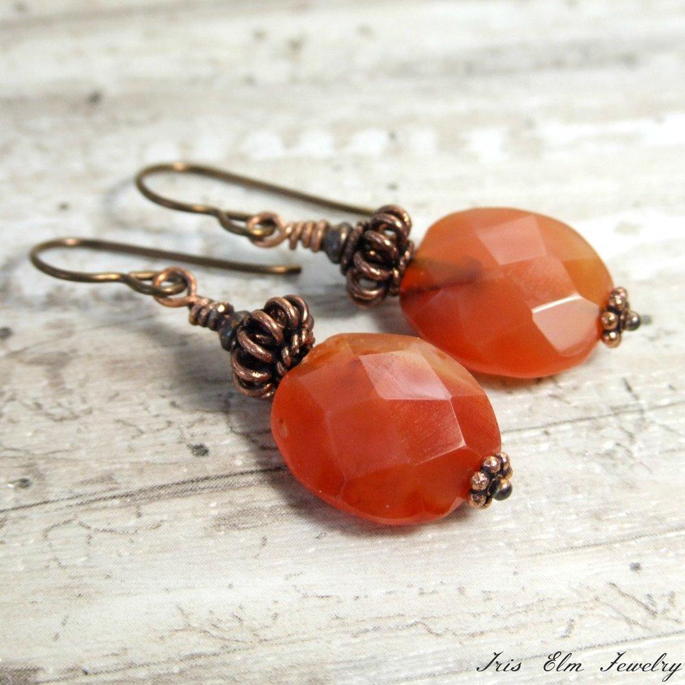Antiqued Copper Carnelian Earrings