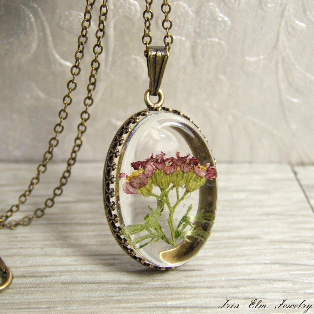 Pomegranate Yarrow Flower Necklace