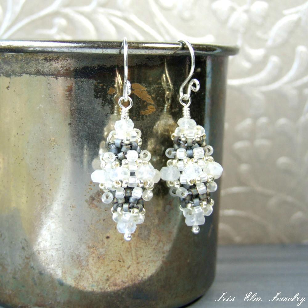Victorian White Rainbow Moonstone Earrings