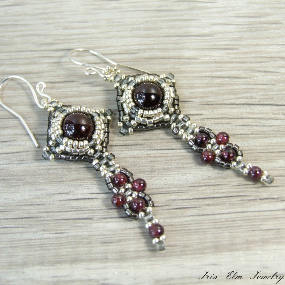 Beaded Art Nouveau Style Garnet Earrings