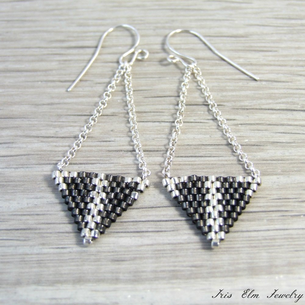 Grey Beaded Sterling Silver Triangle Earrings