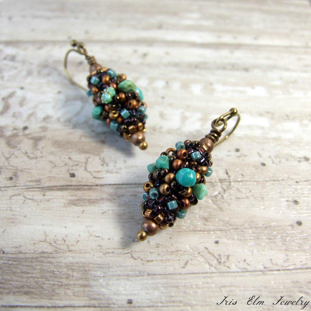 Genuine Turquoise Beaded Bead Earrings