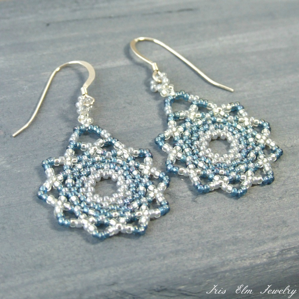 Sparkly Light Blue Winter Seed Bead Earrings