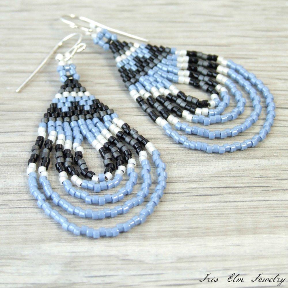 Light Blue Bohemian Seed Bead Earrings
