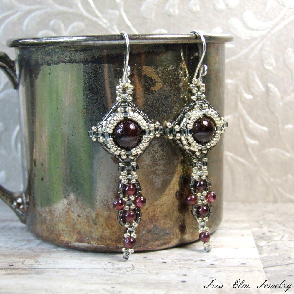 Beaded Art Nouveau Style Garnet Earrings