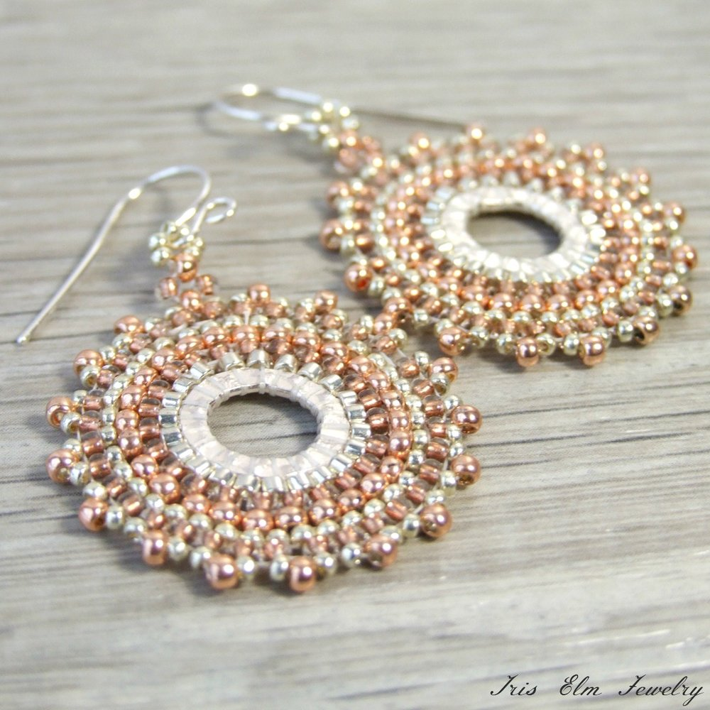 Copper & Silver Seed Bead Hoop Earrings