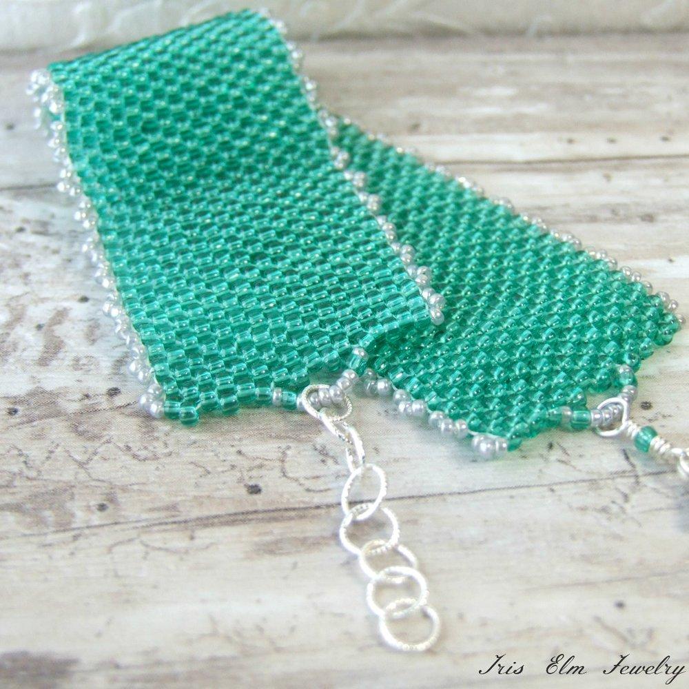 Jade Green Woven Seed Bead Bracelet