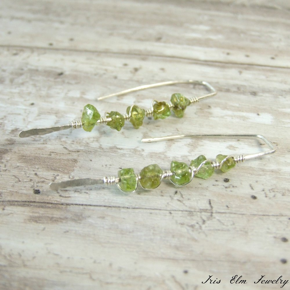 Green Peridot Sterling Threader Earrings