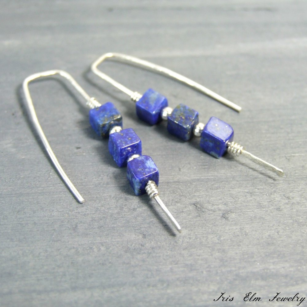Lapis Lazuli Cube Sterling Threader Earrings