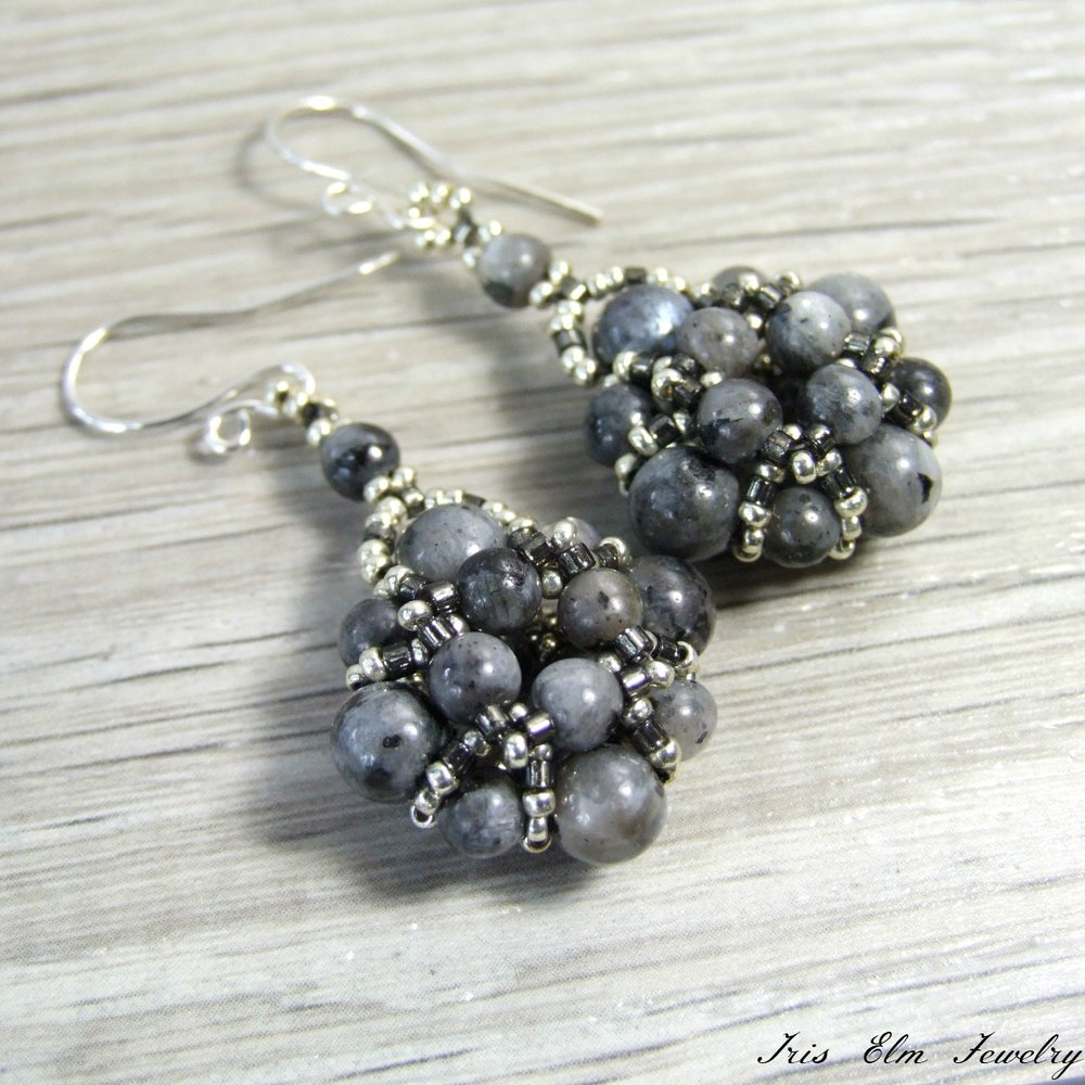 Larvikite Beadwork Earrings