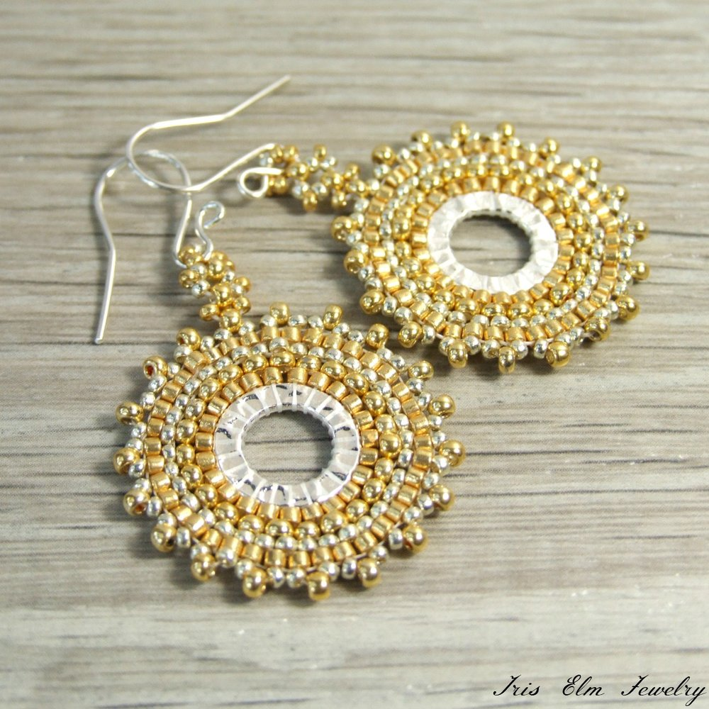 Gold Boho Woven Seed Bead Hoop Dangle Earrings