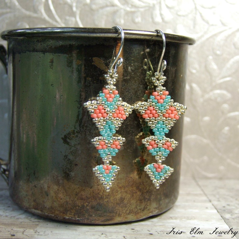 Lightweight Turquoise Blue, Coral, & Silver Tiered Triangle Boho Earrings
