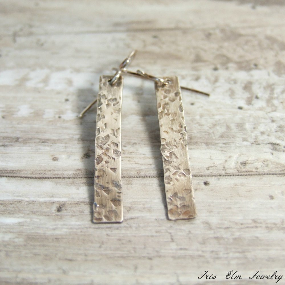 Hammered Sterling Silver Bar Minimalist Earrings