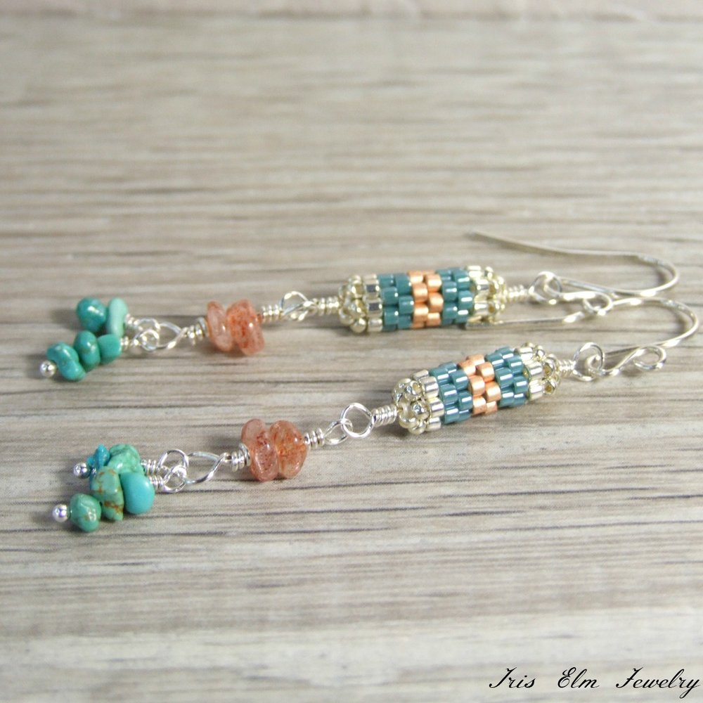 Handmade Genuine Turquoise & Sunstone Bohemian Beaded Dangle Earrings
