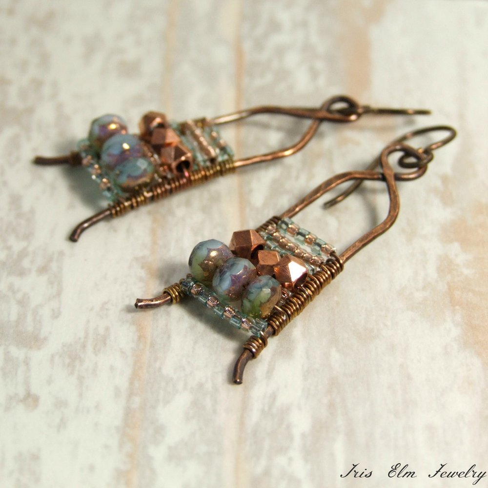 Copper Metal & Aqua Blue Glass Wire Wrap Boho Earrings