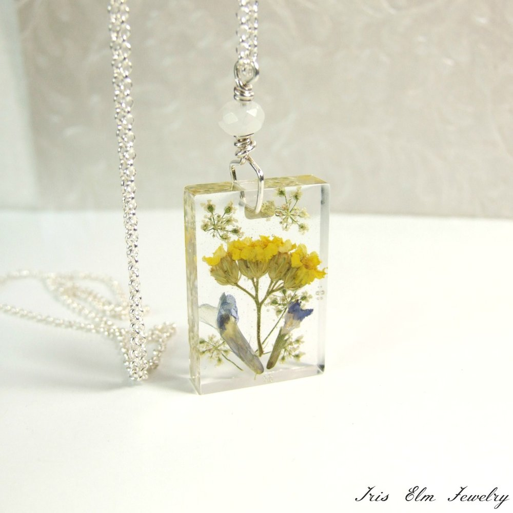 Sterling Silver Yellow Wildflower Necklace with Snow Quartz