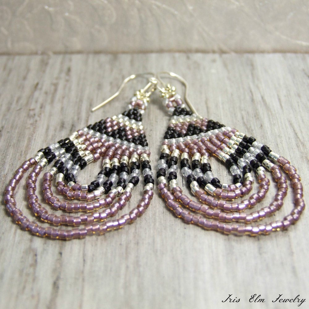 Rose Pink Bohemian Teardrop Seed Bead Dangle Earrings