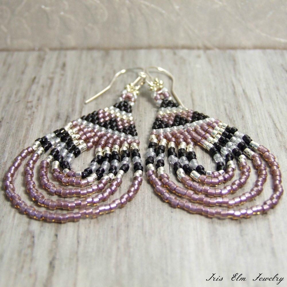 Rose Pink Bohemian Teardrop Seed Bead Dangle Earrings