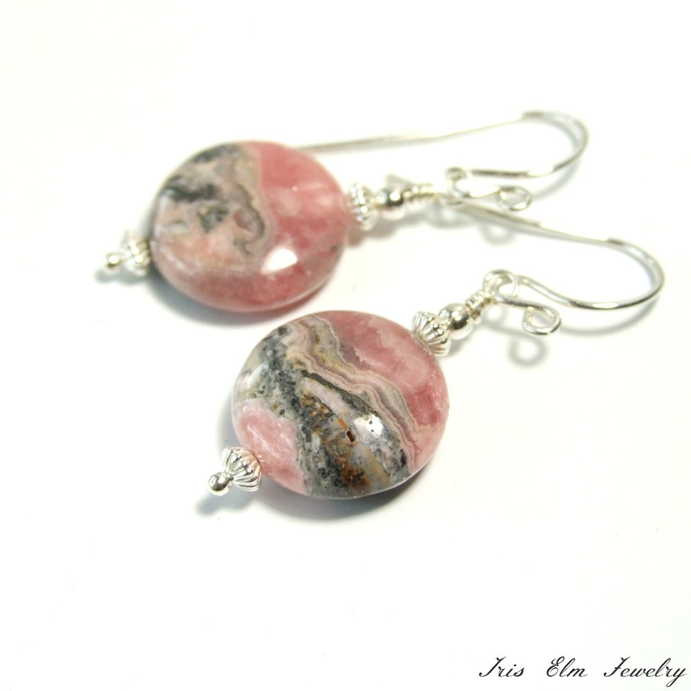 Pink Rhodochrosite Drop Earrings