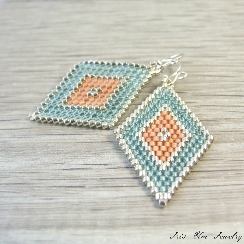 Aqua & Peach Diamond Seed Bead Earrings