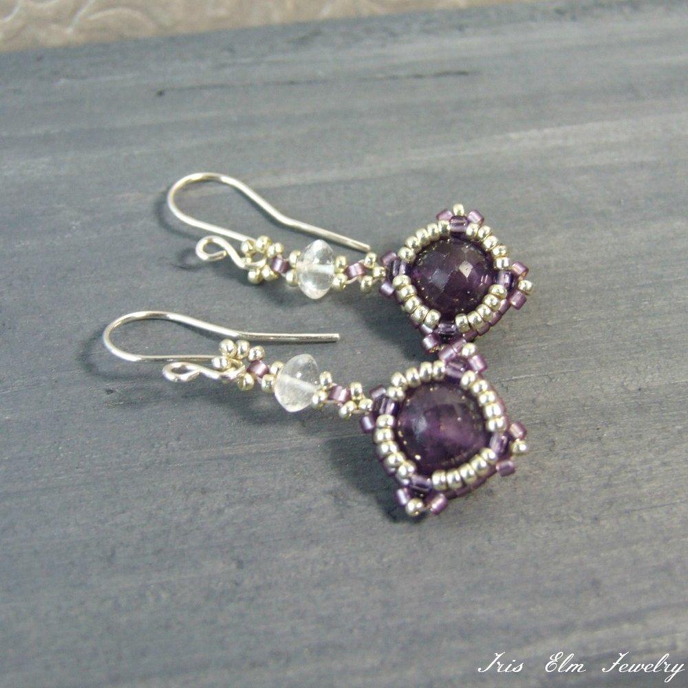 Dark Purple Amethyst & Crystal Drop Earrings