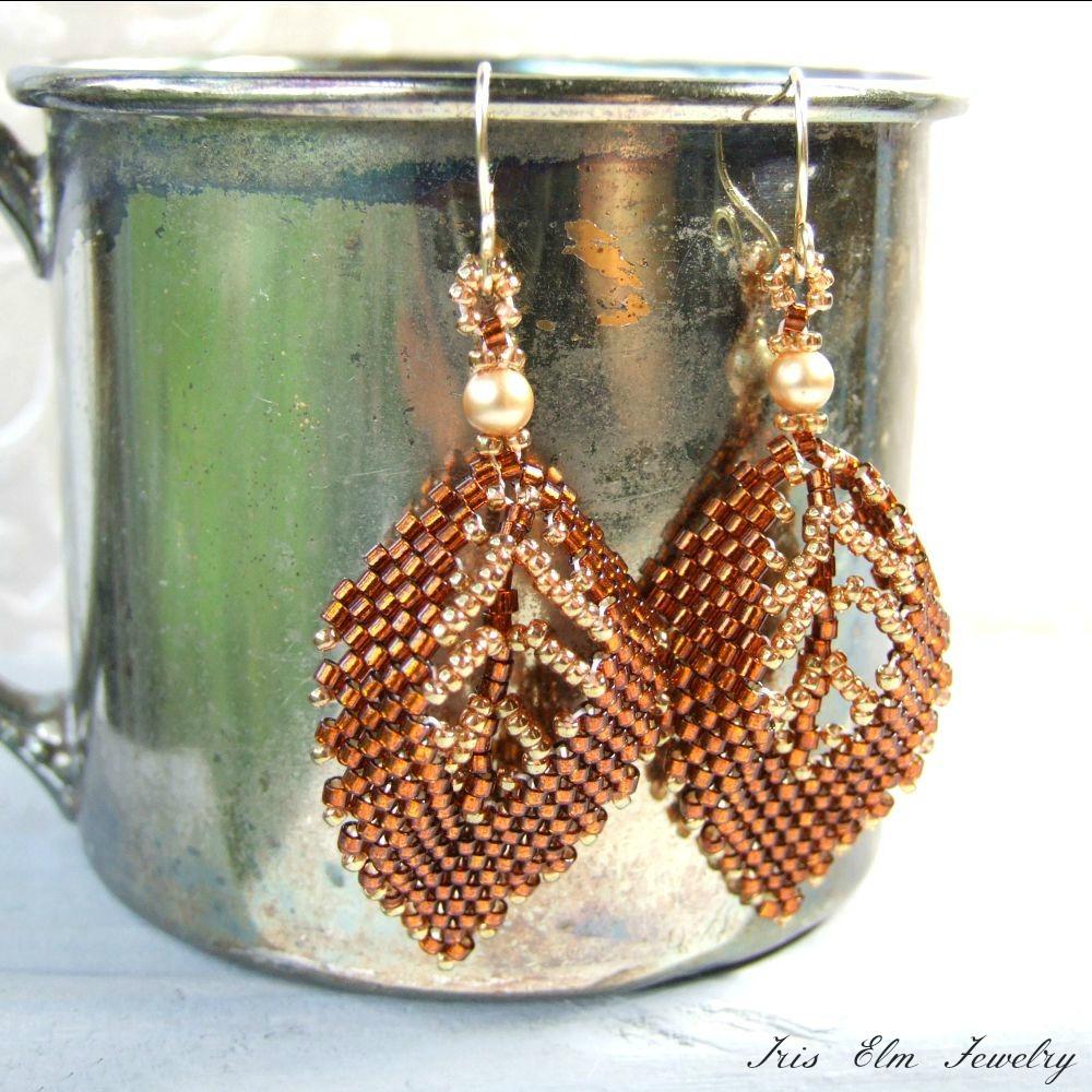 Autumn Leaf Seed Bead & Pearl Earrings
